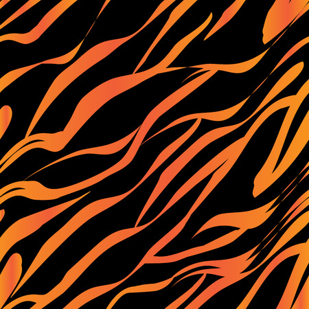 Seamless pattern imitating the color of the tiger orange stripes and black stripes Vettoriali
