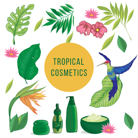 Different tropical elements, palm leaves, bird, tropical flowers, fruits, cosmetic items, jars, bottles.