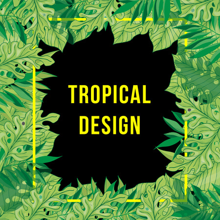 Tropical leaves with ash, yellow frame on a dark background.