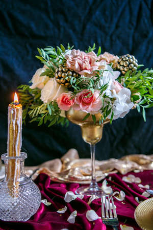 Decorated dinning table elegance setting. Closeup. Details, elements separate items Stock Photo