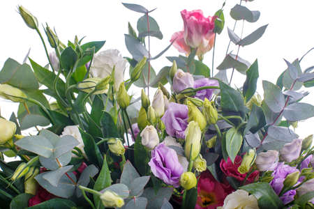 Bouquet of lilac, violet, eustoma and eucalyptus. Delicate and lightweight, packed and with ribbon. A holiday, a gift for a woman. Big and smart. Close up. Isolated.