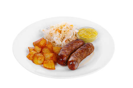 Sausage, beef, lamb, skinnut, grilled meat, barbecue, with side dish potatoes, pickled cabbage on a plate, isolated on white background. Mustard, yellow sauce. For the menu View side