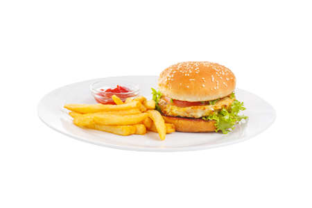 Burger with fish, chicken cutlet, tomato, French fries and ketchup, barbecue sauce. Side view. Serving for a cafe, a restaurant in the menu. Isolated, white background on plate 스톡 콘텐츠