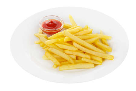 Hot appetizer French fries crispy, golden, deep-fried, fried in oil with tomato sauce, ketchup, before alcohol, food on plate, white isolated background Side view. For the menu, restaurant, bar, cafe Фото со стока