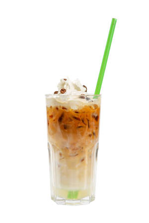 Cocktail with chopped ice, whipped cream and coffee beans, with a taste of coffee, caramel, cream and straw. Side view. Isolated white background