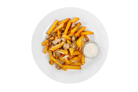 Potatoes diced fried, side dish with onions and mushrooms, white sour cream sauce, mayonnaise on a plate on white isolated background view from above