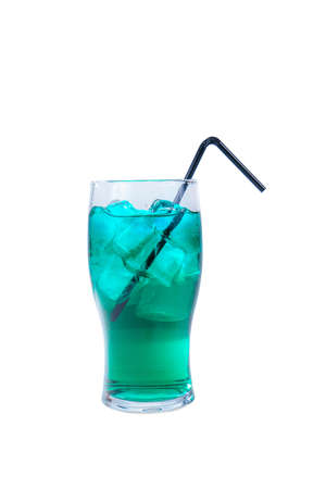 Single-colored transparent cocktail, blue refreshing carbonated in a high glass with ice cubes. Side view. Isolated white background with black straw, Drink for the menu Stok Fotoğraf