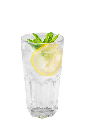 A single-colored transparent cocktail, refreshing in a tall glass with ice cubes, mint leaves and lemon slices, Side view, Isolated white background, Drink for the menu