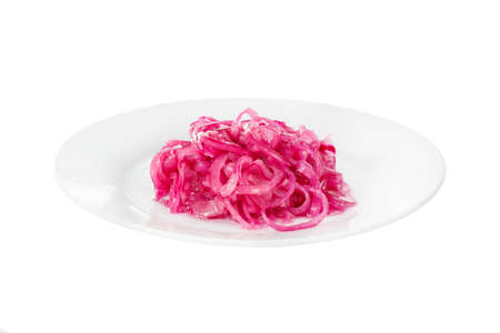 Snack pickled onion red on plate, aperitif before alcohol, during kebab, shashlik or barbecue, white isolated background, side view