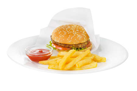 Burger packaged with beef, meat cutlet, tomato, leaf lettuce, French fries and ketchup, barbecue sauce on plate, side view, isolated white background Banco de Imagens