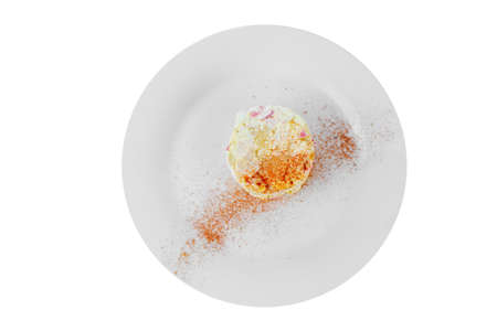 Salad with crab meat, egg, potatoes, spicy on plate, white isolated background, view from above