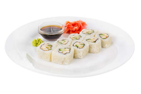Sushi, rolls, uramaki Alaska, with avocado, cucumber, meat, soy sauce, marinated ginger and wasabi, white isolated background side view Banco de Imagens
