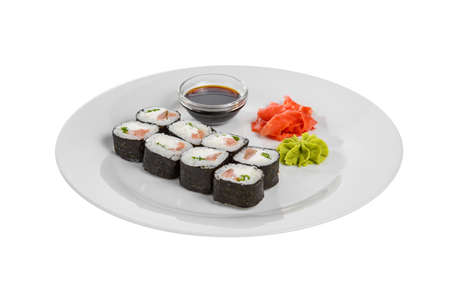 Sushi, rolls, hosomaki with salmon and philadelphia cheese, raw seafood, soy sauce, marinated ginger and wasabi, white isolated background, side view Stockfoto - 124995366