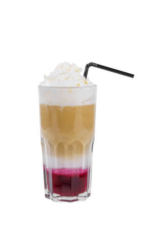 Layered opaque cocktail of coffee, cocoa, milk, whipped cream and berry, fruit syrup in high glass with straw. Side view. Isolated white background Stockfoto