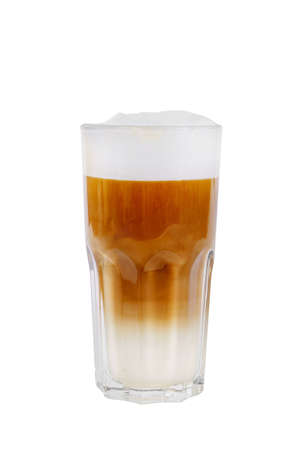 A multi-colored, two-layer opaque cocktail in a tall glass with chopped ice, whipped cream, with a taste of coffee, caramel, cream, Side view, Isolated white background, drink for menu Stockfoto