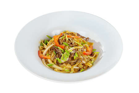 Pasta, noodles with beef, lamb, meat, Pad Thai, decorated with vegetables, bell pepper, chives, Isolated white background, side view, Serving a meal in a cafe, restaurant. Imagens