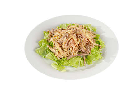 Salad with ham, boiled pork, beef, chicken, pork, egg pancake, lettuce, mayonnaise on plate, white isolated background Side view. For the menu restaurant bar cafe