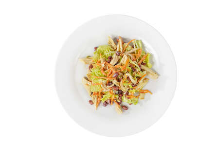salad with beans, asparagus, Korean carrots, chicken, lettuce on plate, white isolated background, view from above. For the menu, restaurant, bar cafe