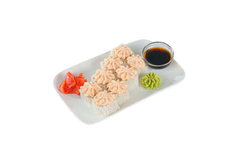Sushi, rolls, uramaki, alaska with lava sauce, tobiko caviar, raw seafood, soy sauce, marinated ginger and wasabi. Food on plate for the menu, restaurant and cafe, white isolated background, side view