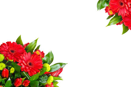Bouquet of gerberas, tulips, bush chrysanthemums, Ruscus, alstroemeria, aspidistra. A holiday, a gift for a woman, mom, postcard, free space, on a white isolated background, view from above