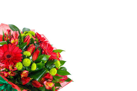 Bouquet of gerberas, tulips, bush chrysanthemums, Ruscus, alstroemeria, aspidistra on a white isolated background, side view. A holiday, a gift for a woman, mom, postcard, free space Imagens