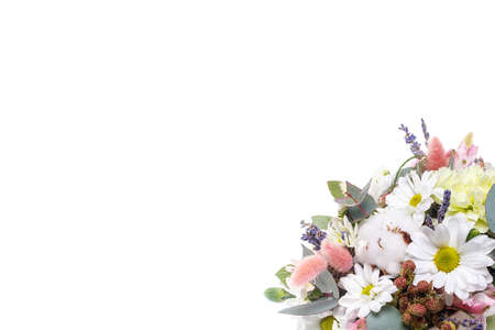 Bouquet in a pot of chrysanthemums, chamomile, eucalyptus, lavender, cotton, eustoma, cloves on a white isolated background, side view. A holiday, a gift for a woman, mom, postcard, free space Imagens