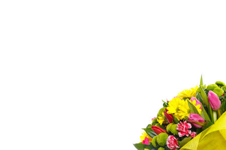 A colorful bouquet of pink and red tulips, yellow and shrub chrysanthemums, ruskus on a white isolated background, side view. A holiday, a gift for a woman, mom, postcard, free space