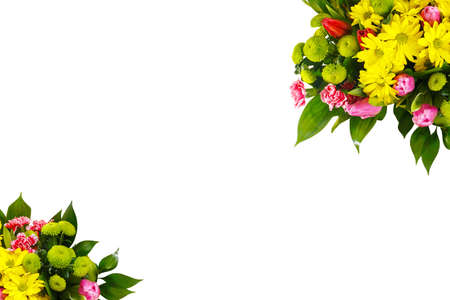 A colorful bouquet of pink and red tulips, yellow and shrub chrysanthemums, ruskus. A holiday, a gift for a woman, mom, postcard, free space on a white isolated background, view from above