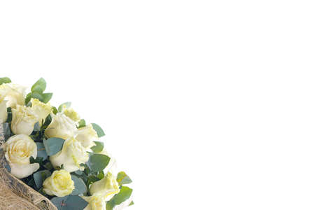 Bouquet of white roses, eucalyptus and Ruscus on a white isolated background, side view. A holiday, a gift for a woman, mother, postcard, free space