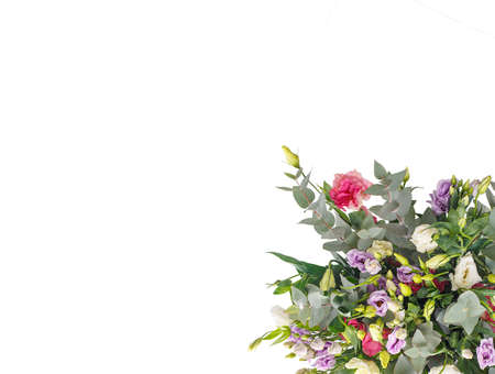 Bouquet of lilac, violet, eustoma and eucalyptus, delicate and lightweight. A holiday, a gift for a woman, mom, postcard, free space on a white isolated background, view from above Stock fotó