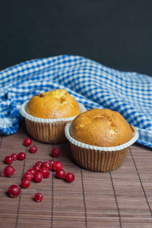 beautiful baking muffin cupcakes with red currant berries Stock Photo