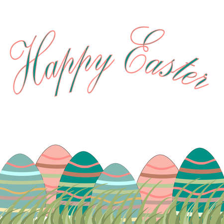 Easter spring background with Happy Easter lettering and colorful eggs. Illustration