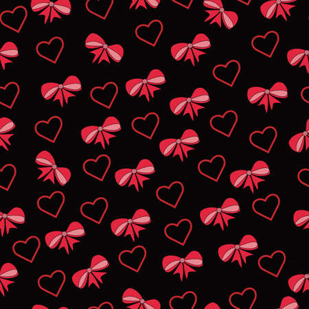 beautiful background with bows and red ribbons and hearts for a Valentine's day holiday on a black background, seamless pattern pattern