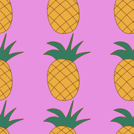 sweet fruit juicy pineapple on a pink background, seamless pattern textile and print