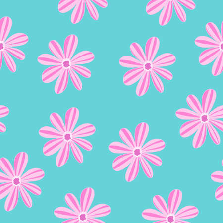 Vector illustration seamless pattern with pink flowers plants on a green turquoise background, stamped texel.