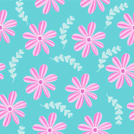 vector illustration seamless pattern with pink flowers plants on a green turquoise background, stamped texel Illustration
