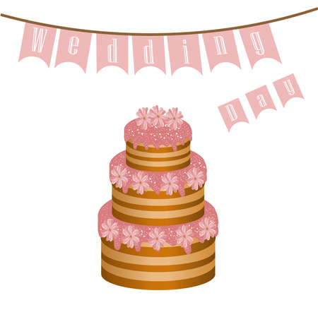 Big delicious wedding cake with pink flowers with decorations on holiday cream with flags and text letters Illustration