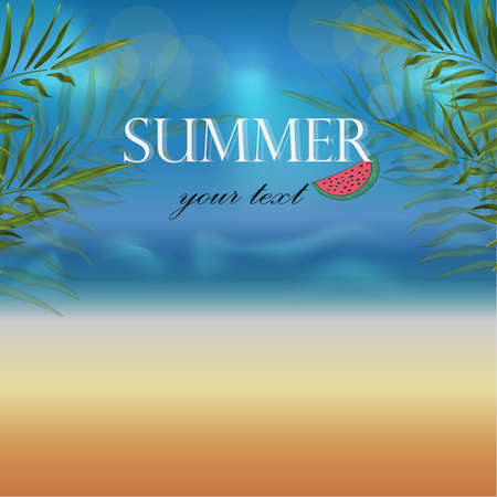 wallpaper vector banner overlooking the beach with golden sand and sea with palm branches and slices of watermelon for the poster with text Summer hello, travel illustration on a beautiful background