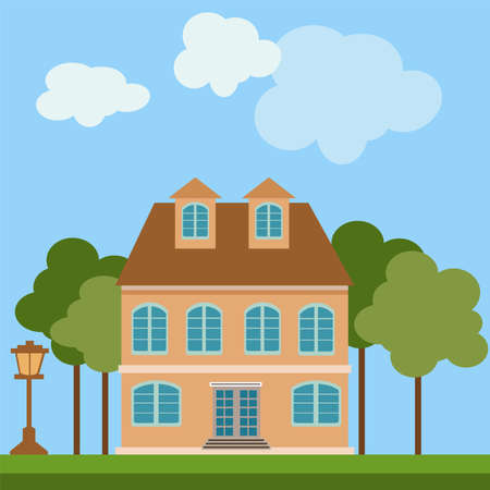 Vector abstract house building in the courtyard with trees and lantern on lawn grass. Architecture landscape on blue background.