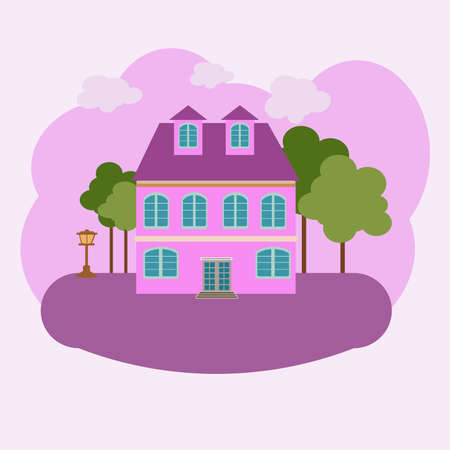 vector abstract house building in courtyard. with trees and lantern on lawn grass architecture landscape on yellow background of pink color