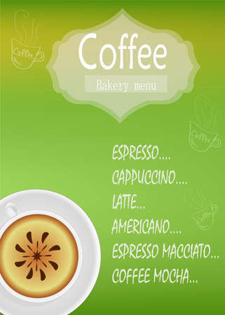 Banner vector on a green background, for menu a restaurant bar for a bar with coffee and coffee drinks with a white cup, a beautiful icon with text. Illustration