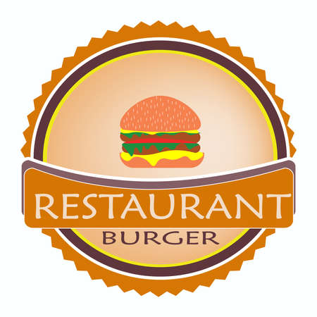 vector logo restaurant food orange color, juicy delicious burger cheeseburger for advertising on white background Stock Illustratie
