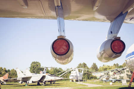 part of the aircraft engine in the background of helicopters in the aviation museum in Ukraine, Kiev 写真素材 - 105777988