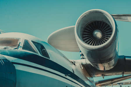 beautiful view of an airplane on its part an airpcraft engine on a sky background