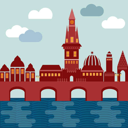 vector city european on coast with bridge houses tower of church and castle of red color on background of sky with clouds