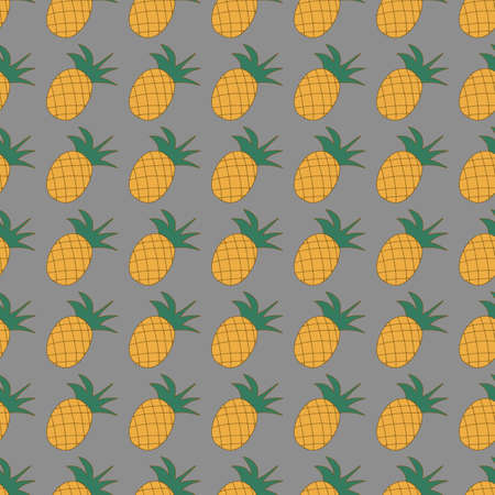 Vector seamless pattern with fruit pineapple on a gray background for printing and textiles