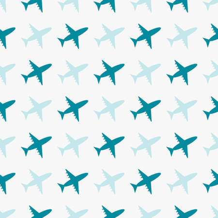 vector seamless blue pattern with airplanes tourist transport for printing and textiles