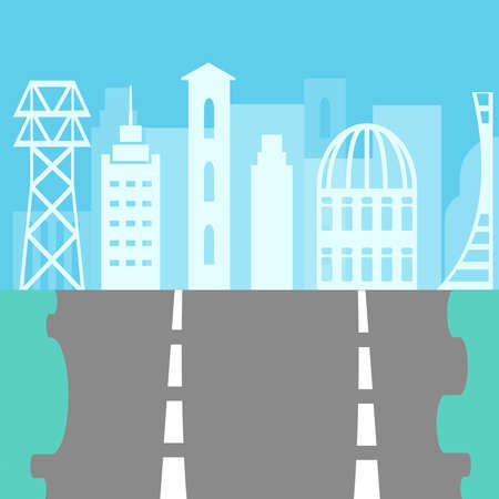 vector road with an asphalt track on a city background of a megacity of houses and blue buildings Illustration