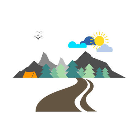vector tourist drawing mountains with trees in the forest with tent and clouds and sun for travels and trips on a white background Stock Illustratie