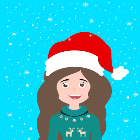 beautiful santa claus girl in a red hat and sweater with long brunette hair on a blue background with snow for the new year and christmas holiday in winter in December